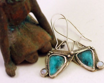 Mixed Metal Turquoise and Opals Earrings