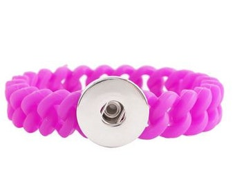 Snap Fuschia Silicone Bracelet - Compatible with GingerSnaps - DIY Snaps - Noosa Snap Jewelry 18mm - Interchangable Customize- Oh Snap