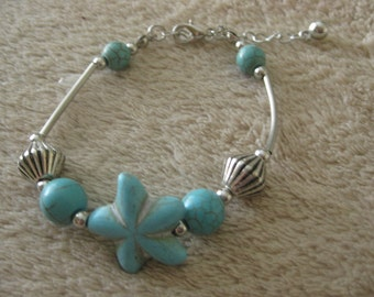 EB01 Turquoise and Tibetan Silver bracelet with extension chain