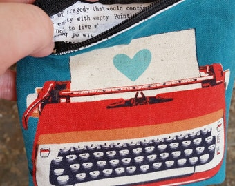 Typewriter Coin Purse made from Melody Miller Ruby Star Rising Fabric