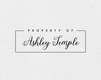 Property of Stamp. Wood Mounted or Self-Inking Rubber Stamp. Style #5. Gift for Kids. Personalized Library Stamp.  Bookplate Stamper.