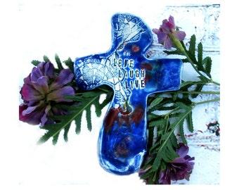 blue cross -ceramic cross,  clay cross,Cross for wall, gift cross, Christian gift,  # 53