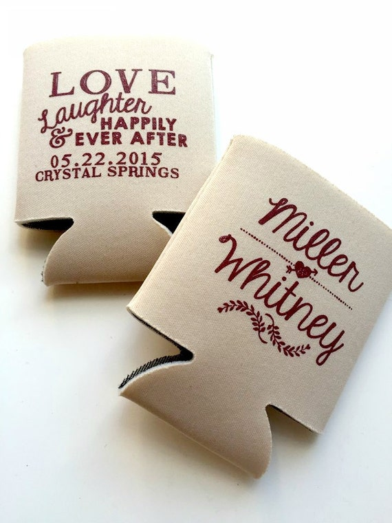 Personalized can cooler wedding favors