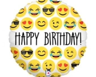 "Emoji Balloon Happy Birthday Emoji Balloon 18"" Mylar Helium Balloon Photo Prop"