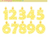 ON SALE Yellow candle numbers clip art, Birthday Cake Candle numbers,  Numbers - 03, 1 to 10, yellow polka dots numbers clip art