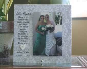 COUSIN, 4 x 6 photo, Choice of Papers and Sayings, ceramic heart with Swarovski crystal