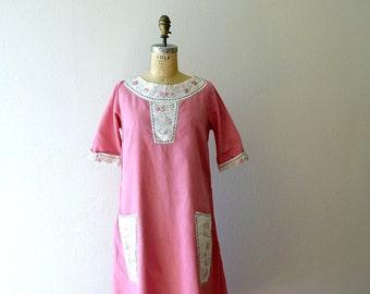 1920s linen dress . vintage 20s pink embroidered dress