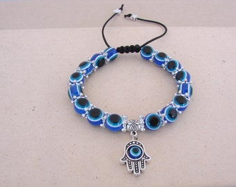 Blue Beaded Evil Eye Macrame Bracelet Hamsa Nazar Khamsa