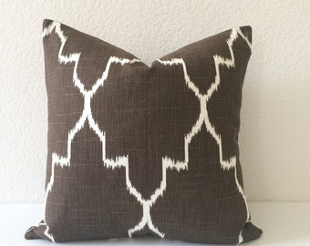 Modern brown moroccan ikat decorative pillow cover, accent pillow, throw pillow