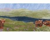 Felt Making Kit to make Scottish Landscape picture with Highland Cattle and online tutorial