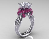 Classic 14K White Gold 3.0 Ct White and Pink Sapphire Knot Engagement Ring R390-14KWGPSWS
