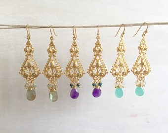 22k gold plated filagree earrings with gemstone drops