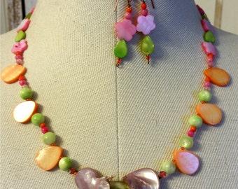 Lime Green Orange Pink Lilac MOP Swarovski Flower Copper Statement Necklace Earring Set of 2