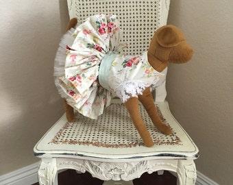 Romance at Martha's Vineyard Dog Dress, Light Green Floral