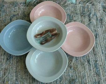 "Mid Century Pastel Dessert Bowls by Taylor Smith + Taylor - Vintage Dinner or Dessert Dishes, ""Conversation"" Dish Set of 5, Retro Kitchen"