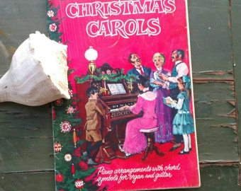 Jolly Vintage Christmas Sheet Music, Vintage Christmas Caroling + Piano Sheet Music, Party Sing a Long Music Book, Antique Piano Boom DIY