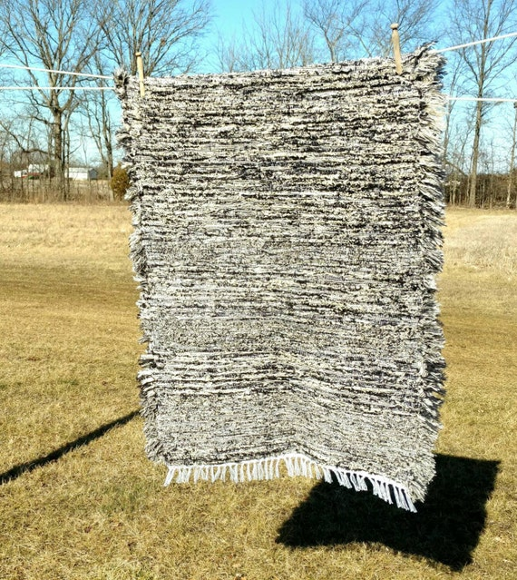 Amish Rag Rug Navy Creamy Oatmeal Colored Rag By