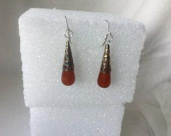 Earrings, Vintage Lucite Carnerlian Drop Earrings, Silver Dangle Earrings, Lucite Carnelian Earrings