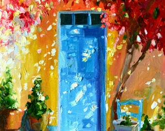 PORTE BLEU  Art Print,Blue Door, chair, bougainvillea