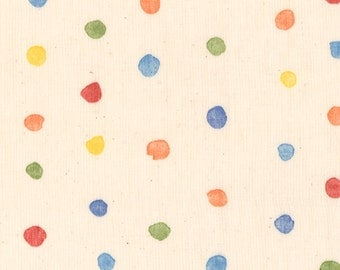 "Nani Iro double gauze, Colorful Pocho in ""Toy"", primary polka dots, by the yard"