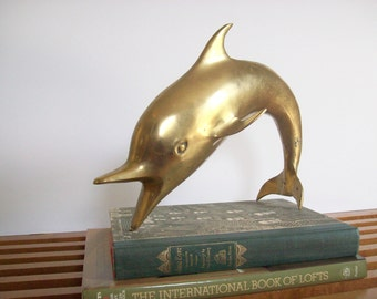 Large Brass Dolphin, Vintage Brass Statue, Figurine, Hollywood Regency Nautical Beach Decor, Retro Brass