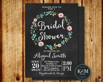 Vintage Floral Bridal Shower Invitation / Printable Digital File