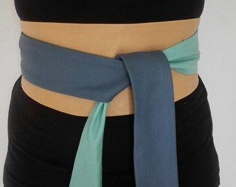 X-Long genuine Leather patchwork Obi belt, corset belt, wrap on belt, wide waist belt soft colours taupe, mint green and greyish blue