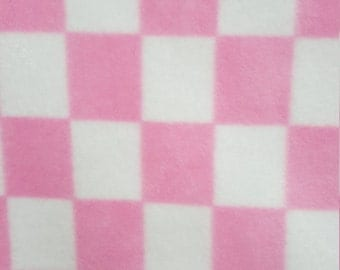 Baby Pink and White Checkers Print Fleece Fabric by the yard