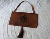 Antique tooled leather hand bag handbag w leather tassels brown leather vintage handmade boho bag handsewn w filigree design, bohemian bag