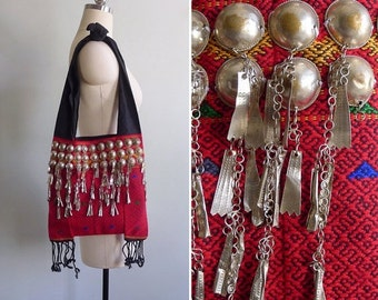 20% CNY SALE - Vintage 70's Silver 'Studs & Charms' Tribal Woven Crossbody Sling Tote Bag