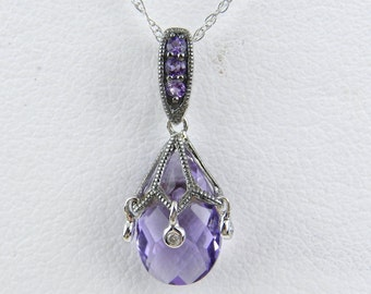 """Amethyst Briolette and Diamond Pendant Necklace White Gold 18"""" Chain February Birthstone"""