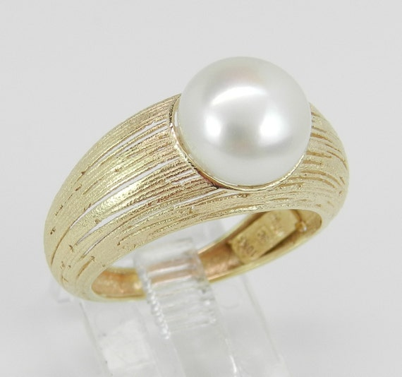 SALE 14K Yellow Gold Solitaire Pearl Engagement Promise Ring Size 7 June Birthstone
