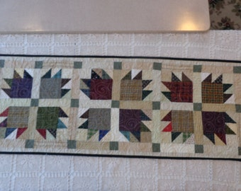Bear's Paw Table runner Quilt, plaids and neutral quilt, scrappy table runner,  decorator quilt 0203-02