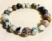Men's Handmade Natural Moss Agate and Antiqued Sterling Silver Bracelet with Silver Spiked Detail.