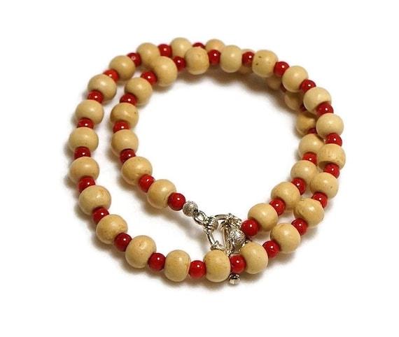 tulsi bead mala holy basil bead necklace coral