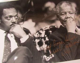 Vntg Jesse Jackson and Nelson Mandela AUTOGRAPHED RARE Historic Photograph! Free shipping!
