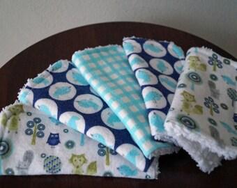 Neutral Baby Wash Cloths - Birds - Animals - Lime - Blue - Aqua - Baby Washcloths - Cotton Washcloths - Baby Gift