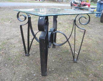 incredible vintage scrolled iron glass top mid CENTURY PATIO TABLE pick up only