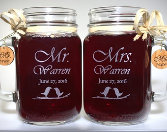 Mr and Mrs Mason Jars, Love Bird - Choice of 21 Fonts - Left or Right Handles
