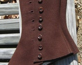 Vintage Brown Wool Side Button Lady's Spats, For Steampunk, Wedding, Cosplay or LARP