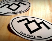 3 Twin Peaks Sticker Pack, Black Lodge Sticker, Oval 4x3 Travel Sticker
