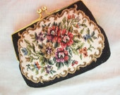 Vintage Coin Purse ~ Black with Flowers Gold Tone metal/Kiss Twist Fastener ~ Petit Point Style~ Bohemian/ Gypsy Style ~ Romantic & Feminine