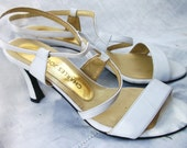Sexy Strappy ~ Chic White with Gold tone Interior ~ Charles Jourdan ~ Vintage Shoes ~ Formal wear