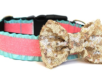 Dog Collar Bow Add-On Light Gold Sparkle Bow for Dogs