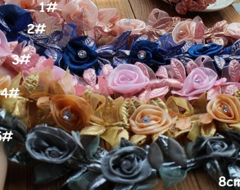 "5 mete 8cm 3.14"" width pink/blue/gray chiffon rose mesh tulle gauze lace trim ribbon tapes mb51 free ship"