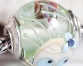 GlassBonBon  small core Mermaid Jellyfish Fish Artisan Glass Bead Ooak Lampwork Beads SRA