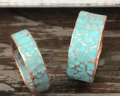Hammered Copper Wedding Band / Ring Set - BOHO His & Hers Unique Rustic Turquoise Patina 7th Anniversary Gift