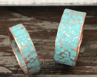 Hammered Copper Wedding Band / 8mm Ring Set - BOHO His & Hers Unique Rustic Turquoise Patina 7th Anniversary Gift