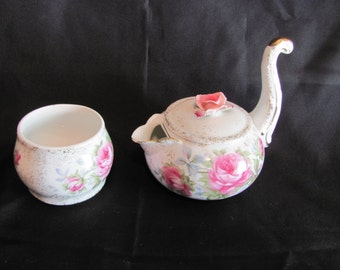 Lefton Creamer and Sugar Bowl with Pink Roses