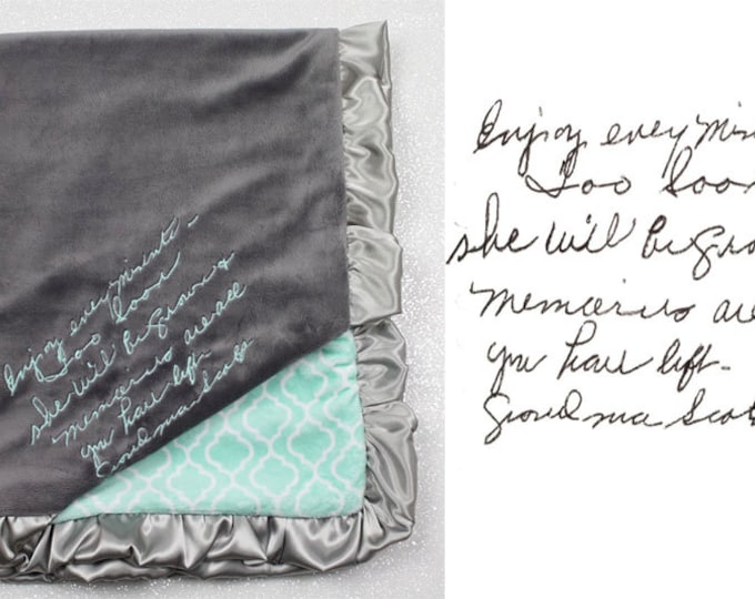 Special blanket, blanket with handwriting, minky blanket, personalized minky blanket, handwritten embroidery, memory blanket, memorial gift